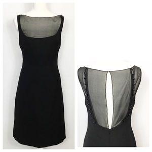 Badgley Mischka Sheer Chest Back Beaded Dress